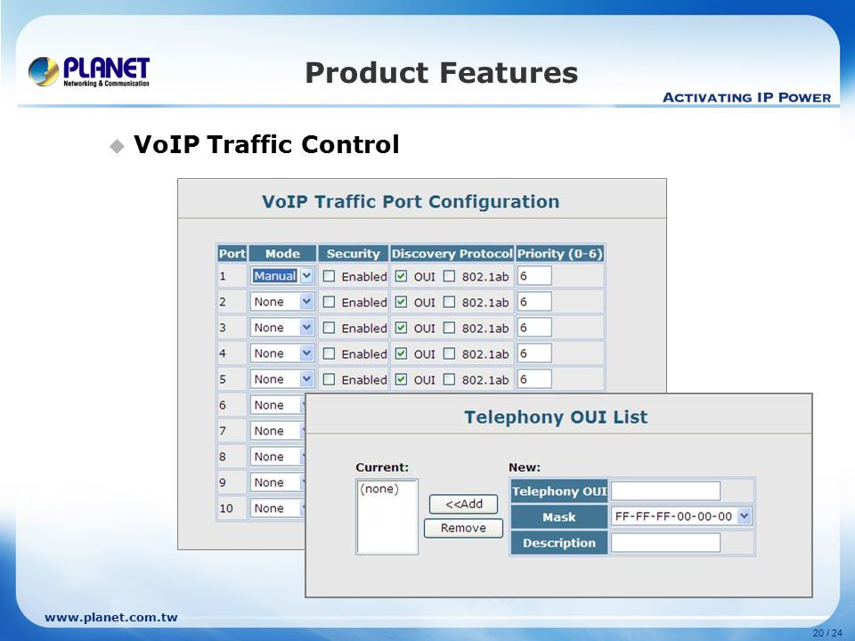www.planet.com.tw 20 / 24 Product Features  VoIP Traffic Control