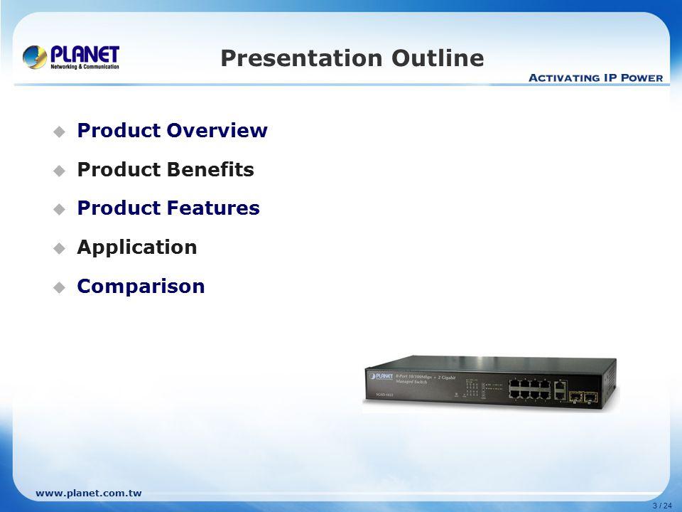www.planet.com.tw Product Overview  Position L2 Management L2/L4 Full Management L2 Management w/ Gigabit Uplink SNMP v3 SSH / SSL Web SNMPv1/v2c / RMON Telnet / Console WSD-800 WGSD-910 WGSD-1022C SGSD-1022