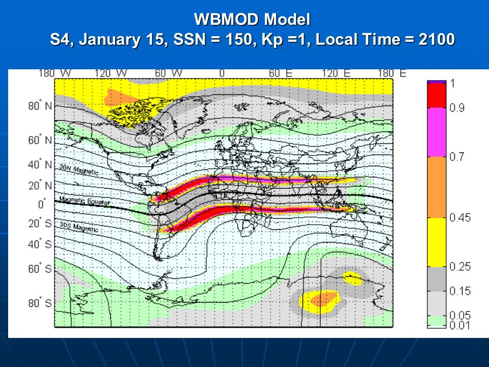 WBMOD Model S4, January 15, SSN = 150, Kp =1, Local Time = 2100