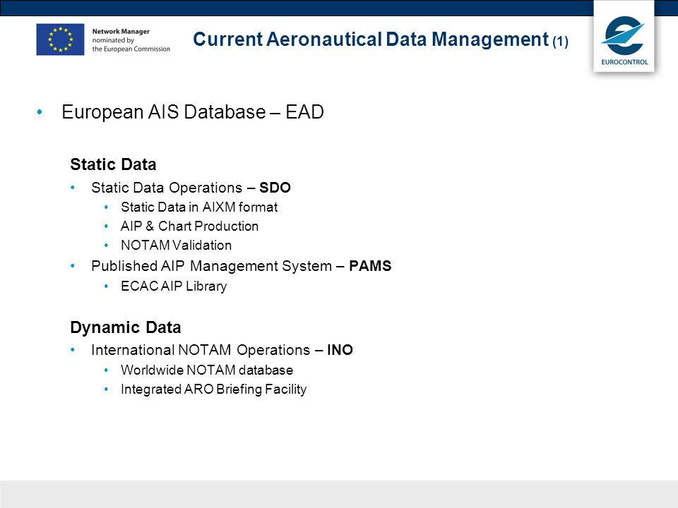 Current Aeronautical Data Management (1) European AIS Database – EAD Static Data Static Data Operations – SDO Static Data in AIXM format AIP & Chart Production NOTAM Validation Published AIP Management System – PAMS ECAC AIP Library Dynamic Data International NOTAM Operations – INO Worldwide NOTAM database Integrated ARO Briefing Facility
