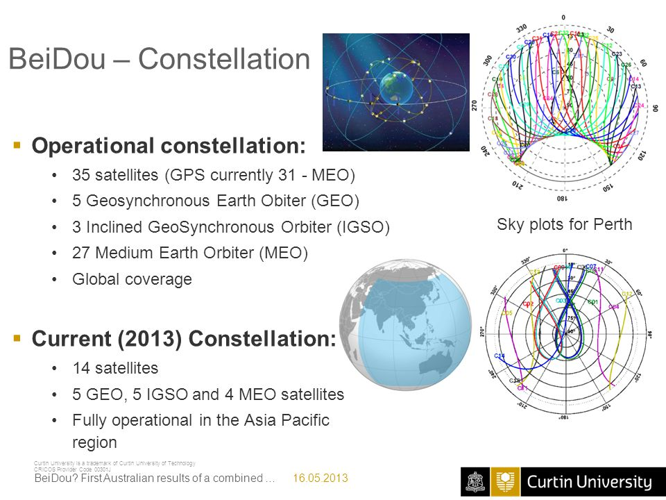 Curtin University is a trademark of Curtin University of Technology CRICOS Provider Code 00301J Beidou + GPS Attitude Determination 16.05.2013BeiDou.