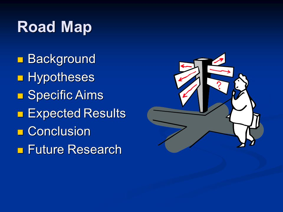 Road Map Background Background Hypotheses Hypotheses Specific Aims Specific Aims Expected Results Expected Results Conclusion Conclusion Future Research Future Research