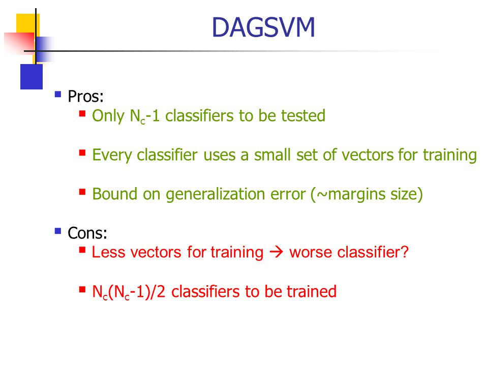 DAGSVM  Pros:  Only N c -1 classifiers to be tested  Every classifier uses a small set of vectors for training  Bound on generalization error (~ma