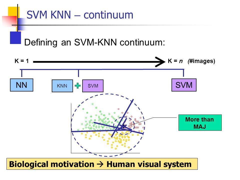 SVM KNN – continuum Defining an SVM-KNN continuum: K = 1 K = n (#images) NNSVM KNN Biological motivation  Human visual system More than MAJ
