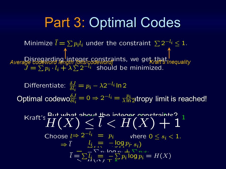 Optimal codeword lengths ) the entropy limit is reached.
