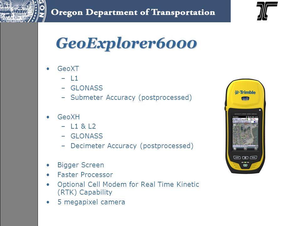 RangeFinder Bluetooth syncs to GPS unit for data collection using offsets Measures horizontal, vertical, and slope distances Measures angles +/- 1 foot accuracy