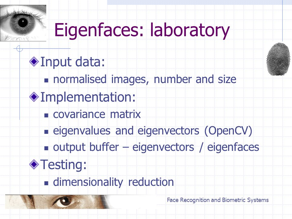 Face Recognition and Biometric Systems Eigenfaces: laboratory Input data: normalised images, number and size Implementation: covariance matrix eigenva