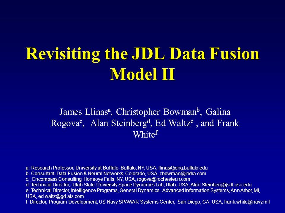 Revisiting the JDL Data Fusion Model II James Llinas a, Christopher Bowman b, Galina Rogova c, Alan Steinberg d, Ed Waltz e, and Frank White f a: Rese