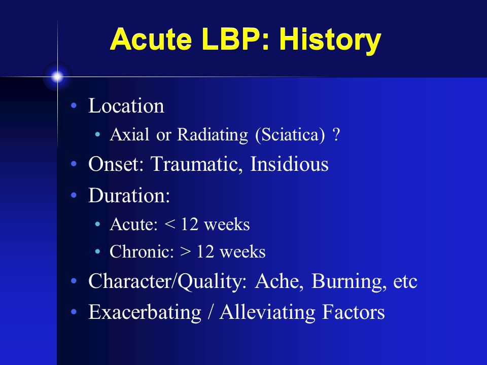 LBP: Radiculopathy Surgery Indications Cauda equina Progressive neuro deficits No relief w/ conservative treatment SPORT trial JAMA 2006