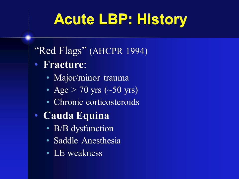 LBP: Spinal Stenosis History (Neurogenic claudication) Prox LE Pain +/- Neuro sxs Walk / Stand Uphill > Downhill Grocery Cart Physical Exam ~ Normal Stand / Walk