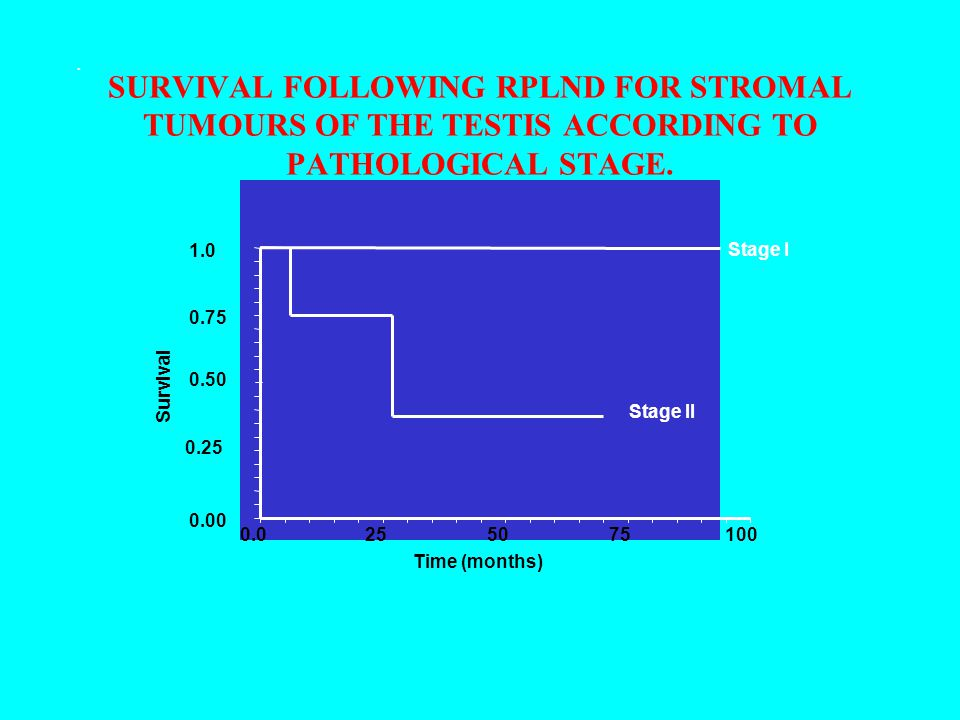 SURVIVAL FOLLOWING RPLND FOR STROMAL TUMOURS OF THE TESTIS ACCORDING TO PATHOLOGICAL STAGE. 0.00 0.25 0.50 0.75 1.0 0.025 50 75100 Time (months) Survi