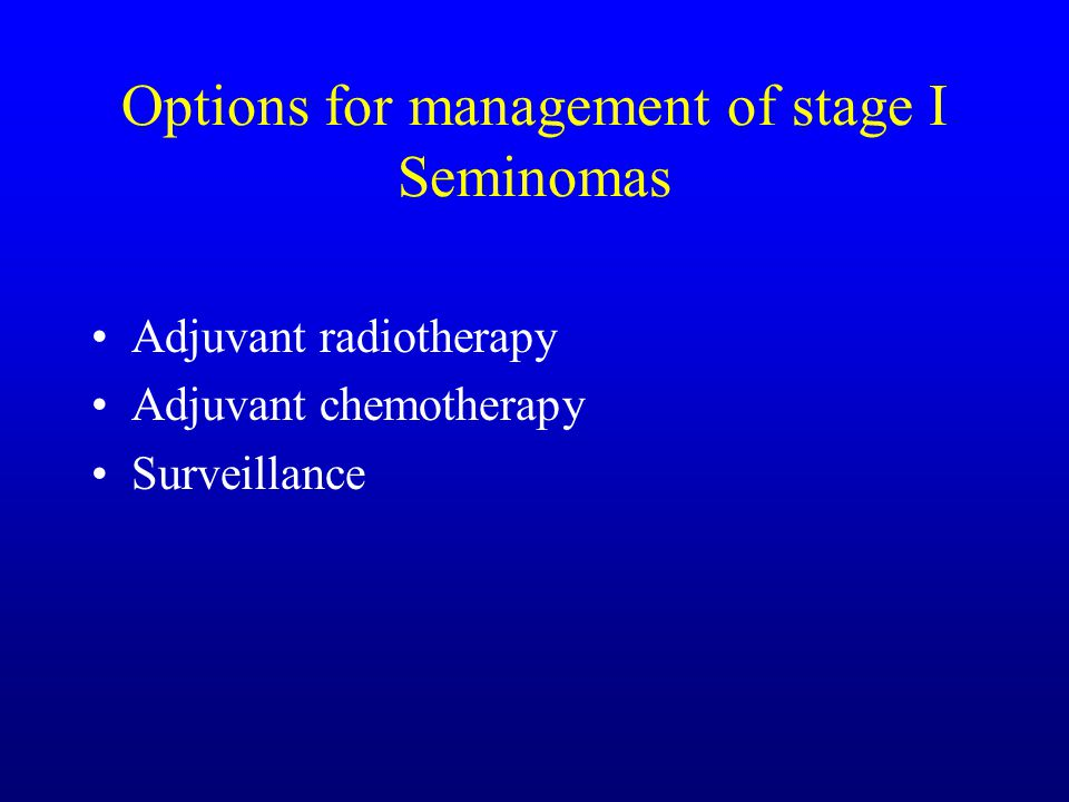 1980's Management of stage I seminoma 20% will recur after orchidectomy 90% relapse in para-aortic nodes Traditionally adjuvant treatment with radiotherapy to para- aortic and ipsilateral iliac nodes in a dog leg field.