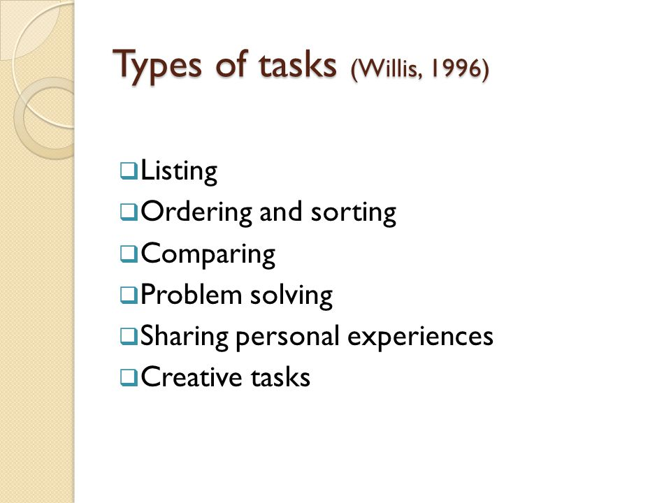 Types of tasks (Willis, 1996)  Listing  Ordering and sorting  Comparing  Problem solving  Sharing personal experiences  Creative tasks