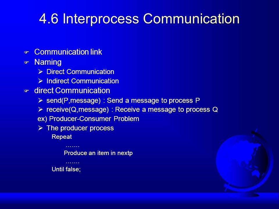 4.6 Interprocess Communication F Communication link F Naming  Direct Communication  Indirect Communication F direct Communication  send(P,message)