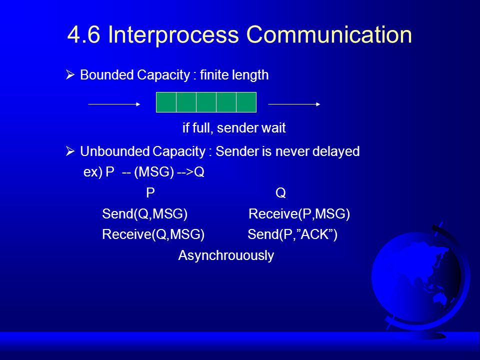 4.6 Interprocess Communication  Bounded Capacity : finite length if full, sender wait  Unbounded Capacity : Sender is never delayed ex) P -- (MSG) -->Q P Q Send(Q,MSG) Receive(P,MSG) Receive(Q,MSG) Send(P, ACK ) Asynchrouously