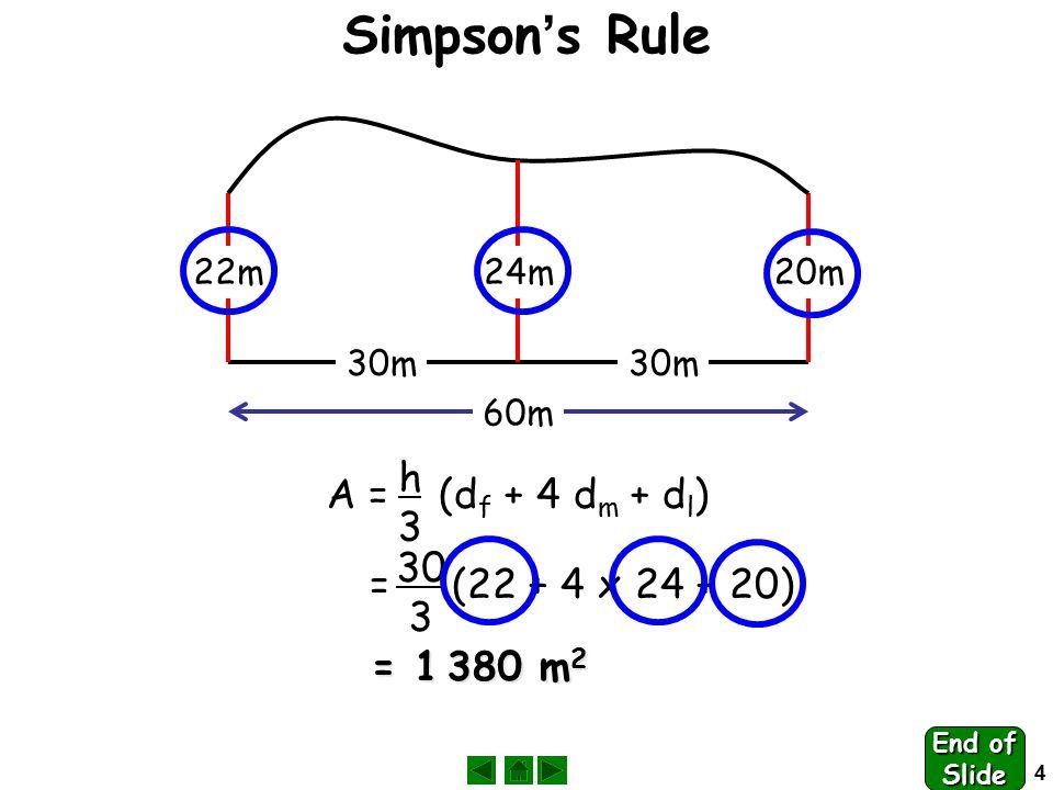 4 22m24m20m 60m 30m A = (d f + 4 d m + d l ) h3h3 = (22 + 4 x 24 + 20) 30 3 = 1 380 m 2 Simpson ' s Rule End of Slide