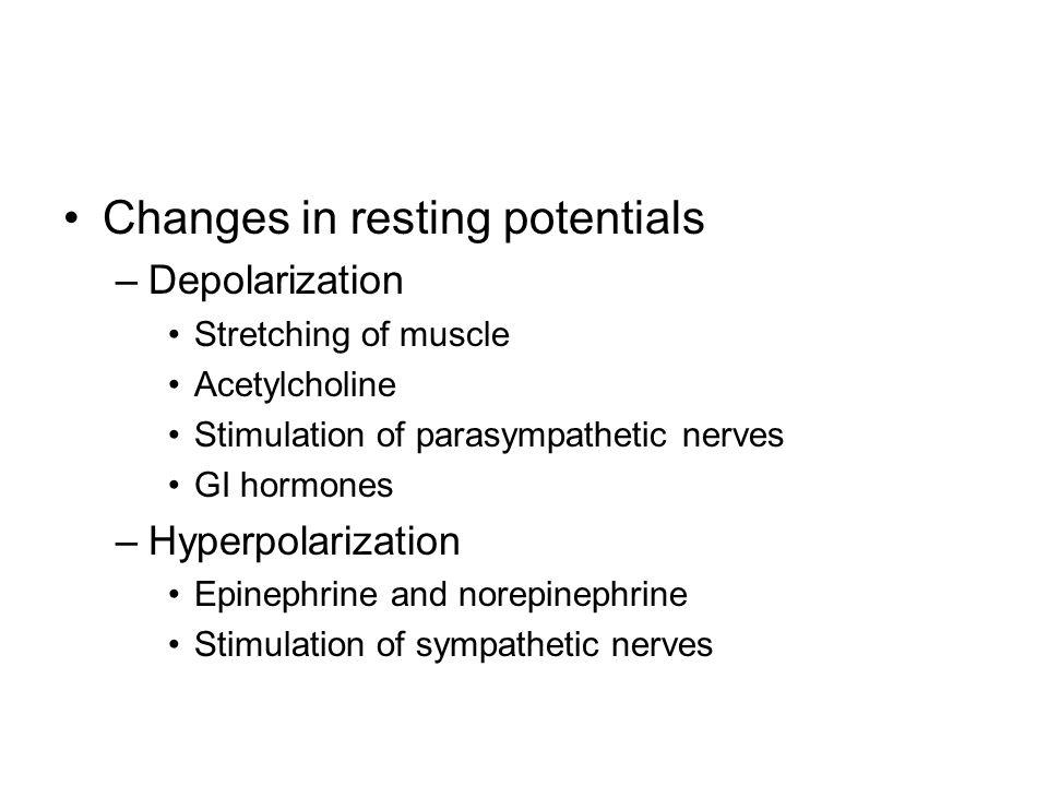 Changes in resting potentials –Depolarization Stretching of muscle Acetylcholine Stimulation of parasympathetic nerves GI hormones –Hyperpolarization Epinephrine and norepinephrine Stimulation of sympathetic nerves