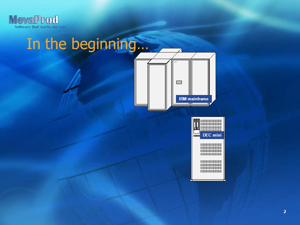 Software that works for you 2 In the beginning… IBM mainframe DEC mini