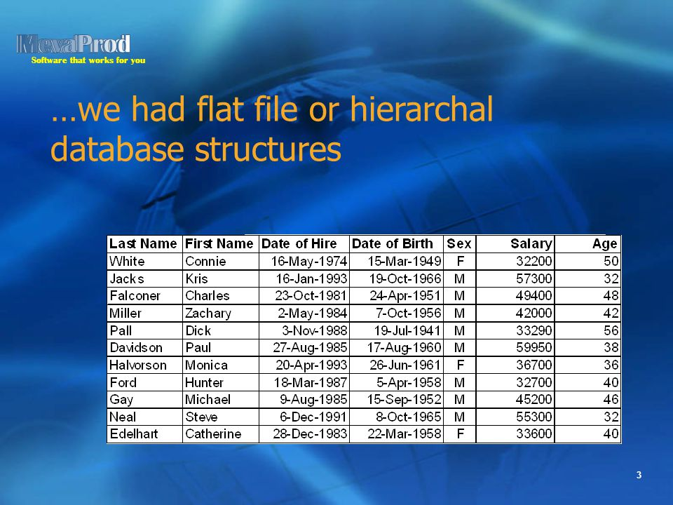 Software that works for you 3 …we had flat file or hierarchal database structures