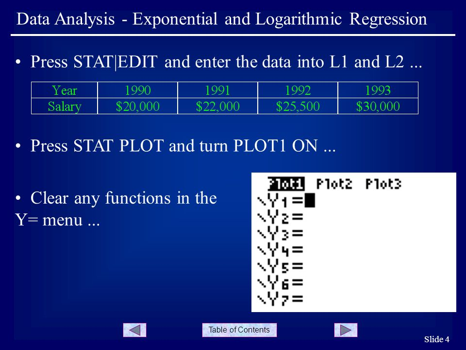Table of Contents Slide 5 Data Analysis - Exponential and Logarithmic Regression Press ZOOM|ZoomStat...