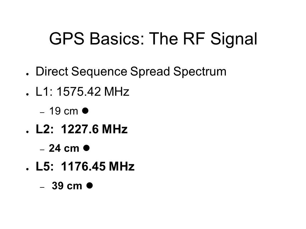 GPS Basics: DSSS ● Pseudorandom Gold codes unique for each satellite ● C/A: 1023 bits, repeats each msec – 1.023 MHz rate – 300 M integer pseudorange ● P(Y): somewhat longer, repeats about every 267 days – 10.23 MHz rate – 30 M integer pseudorange