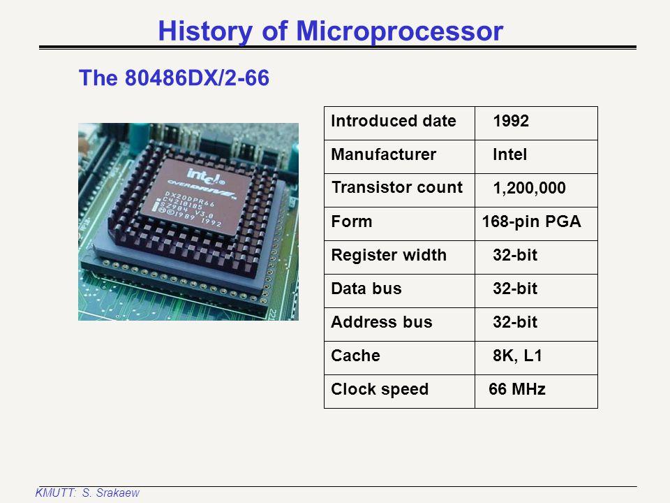 KMUTT: S. Srakaew History of Microprocessor The 80486SX Introduced date Manufacturer Register width Transistor count Form 1991 Intel 32-bit 900,000 8,