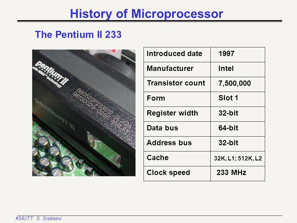 KMUTT: S. Srakaew History of Microprocessor The Pentium MMX-200 Introduced date Manufacturer Register width Transistor count Form 1997 Intel 32-bit 4,
