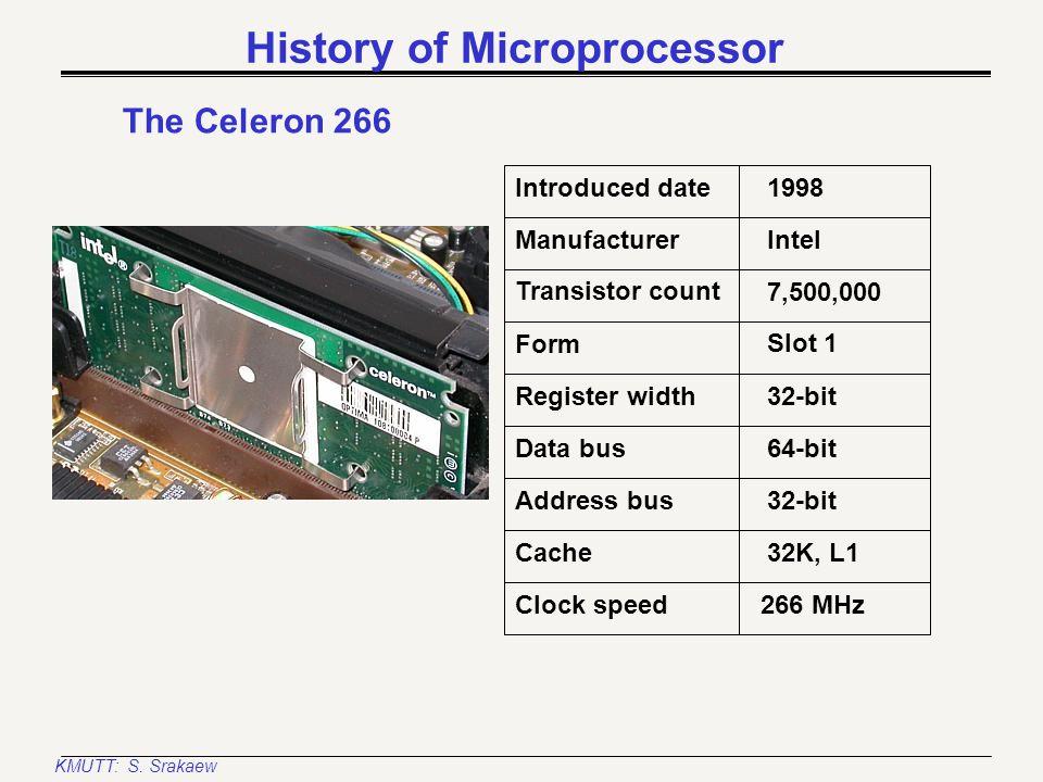 KMUTT: S. Srakaew History of Microprocessor The Pentium II 233 Introduced date Manufacturer Register width Transistor count Form 1997 Intel 32-bit 7,5