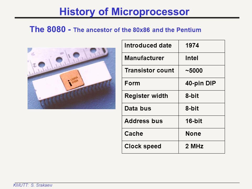 KMUTT: S. Srakaew History of Microprocessor The 4004 Introduced date Manufacturer Register width Transistor count Form 1971 Intel 4-bit 2250 16-pin DI