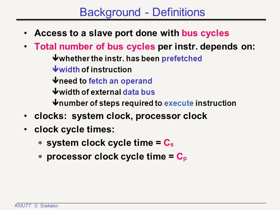 KMUTT: S. Srakaew Instruction cycle Bus cycles Input clock cycles Instruction Cycle B1B2B3 C1C2C3C4C1C2C3C4C1C2C3C4