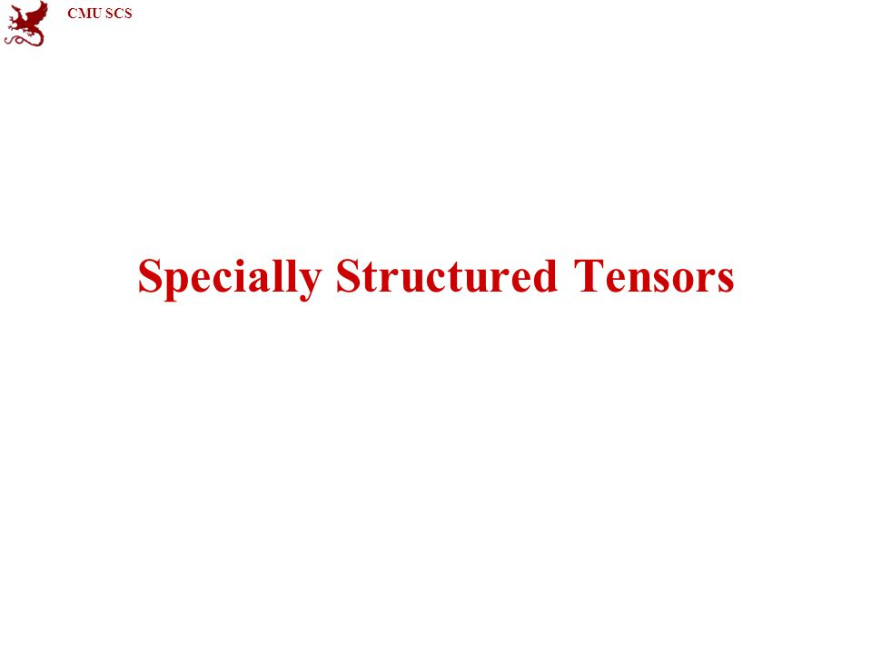 CMU SCS Specially Structured Tensors