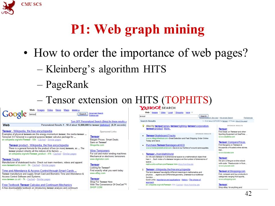 CMU SCS 42 P1: Web graph mining How to order the importance of web pages.