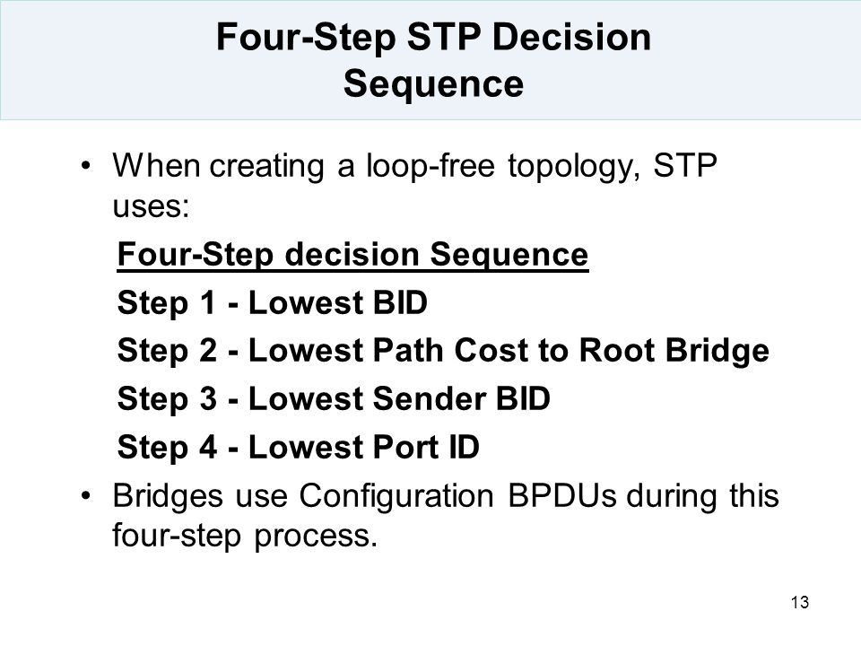 13 Four-Step STP Decision Sequence When creating a loop-free topology, STP uses: Four-Step decision Sequence Step 1 - Lowest BID Step 2 - Lowest Path