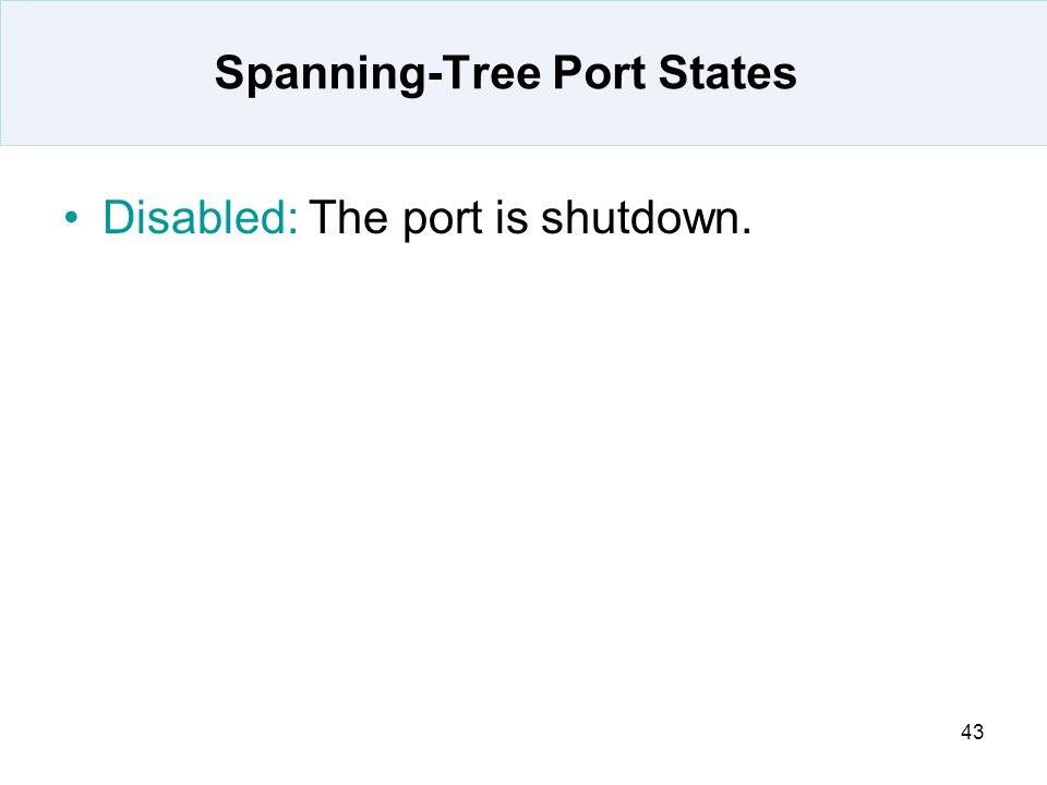 43 Spanning-Tree Port States Disabled: The port is shutdown.