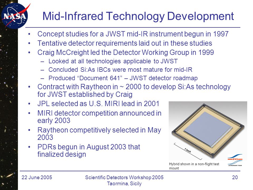 22 June 2005Scientific Detectors Workshop 2005 Taormina, Sicily 20 Mid-Infrared Technology Development Concept studies for a JWST mid-IR instrument be