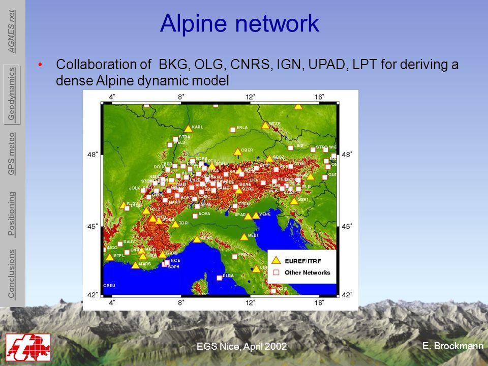 E. Brockmann EGS Nice, April 2002 Alpine network Collaboration of BKG, OLG, CNRS, IGN, UPAD, LPT for deriving a dense Alpine dynamic model Conclusions