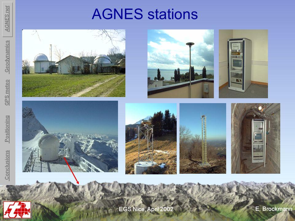 E. Brockmann EGS Nice, April 2002 AGNES stations Conclusions Positioning GPS meteo Geodynamics AGNES net