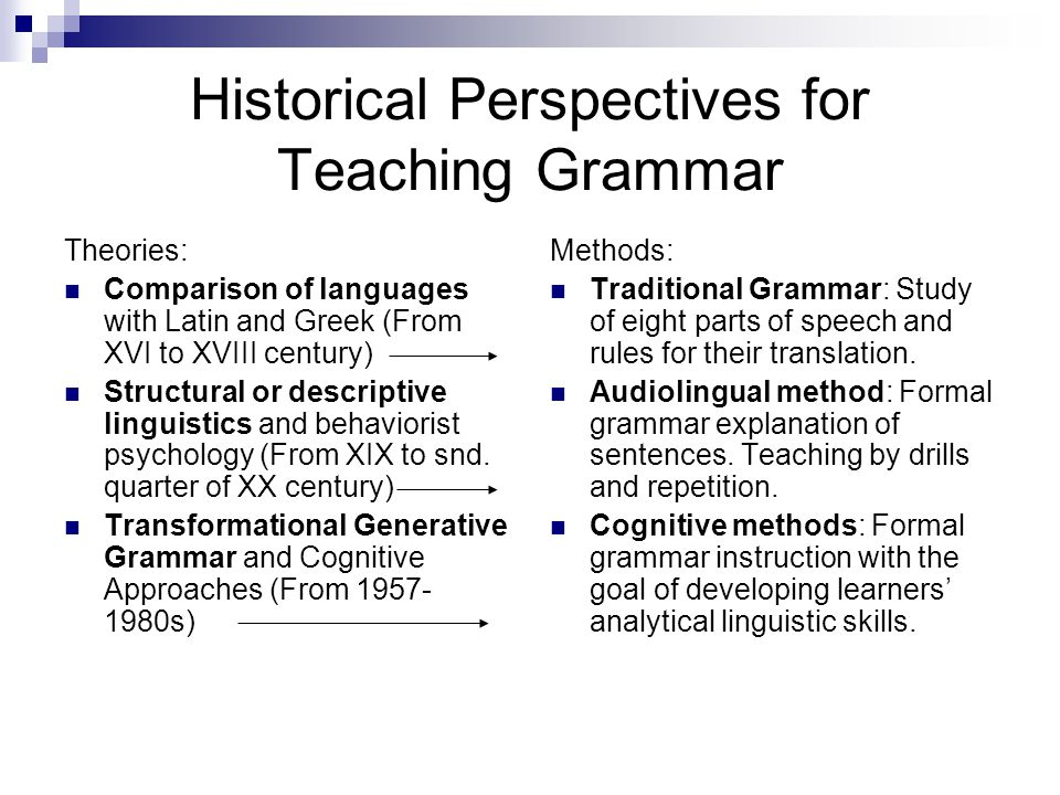 Historical Perspectives for Teaching Grammar Theories: Comparison of languages with Latin and Greek (From XVI to XVIII century) Structural or descript