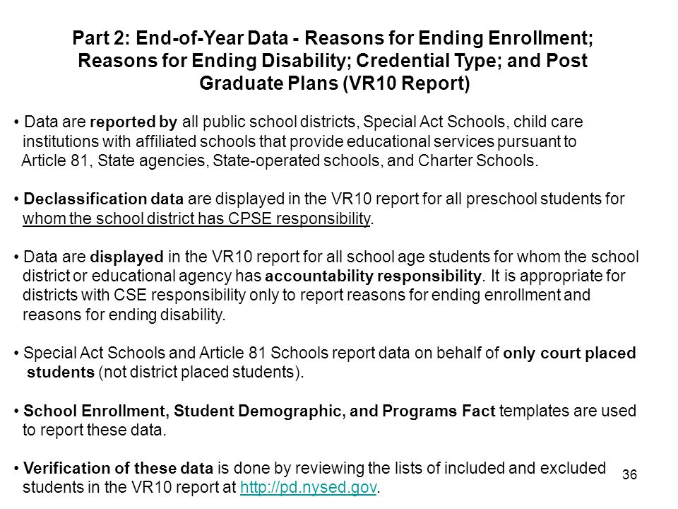 36 Data are reported by all public school districts, Special Act Schools, child care institutions with affiliated schools that provide educational services pursuant to Article 81, State agencies, State-operated schools, and Charter Schools.
