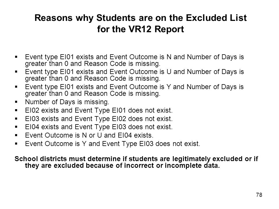 78 Reasons why Students are on the Excluded List for the VR12 Report  Event type EI01 exists and Event Outcome is N and Number of Days is greater than 0 and Reason Code is missing.
