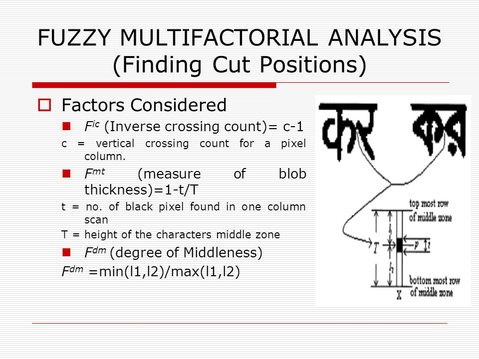 FUZZY MULTIFACTORIAL ANALYSIS (Finding Cut Positions)  Factors Considered F ic (Inverse crossing count)= c-1 c = vertical crossing count for a pixel column.