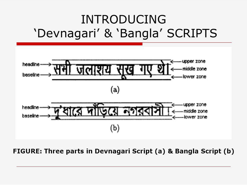 INTRODUCING 'Devnagari' & 'Bangla' SCRIPTS FIGURE: Three parts in Devnagari Script (a) & Bangla Script (b)