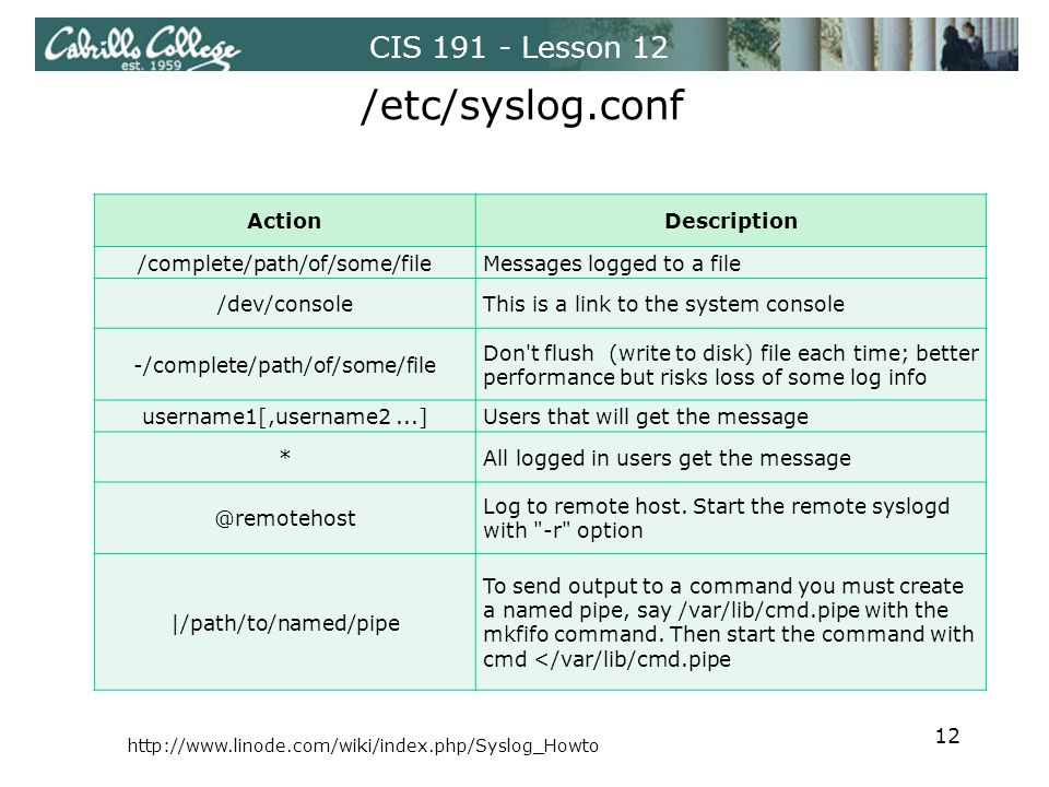 CIS 191 - Lesson 12 /etc/syslog.conf ActionDescription /complete/path/of/some/fileMessages logged to a file /dev/consoleThis is a link to the system console -/complete/path/of/some/file Don t flush (write to disk) file each time; better performance but risks loss of some log info username1[,username2...]Users that will get the message *All logged in users get the message @remotehost Log to remote host.
