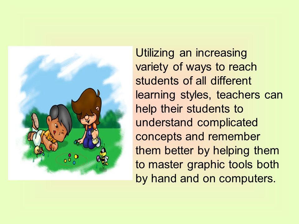 Utilizing an increasing variety of ways to reach students of all different learning styles, teachers can help their students to understand complicated concepts and remember them better by helping them to master graphic tools both by hand and on computers.