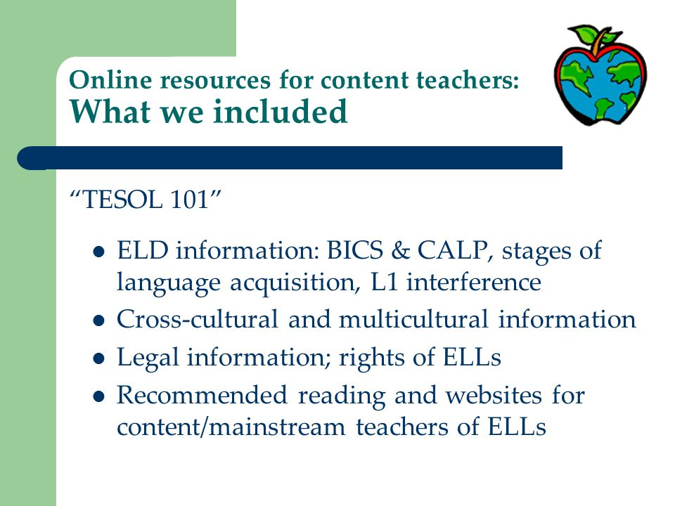 Online resources for content teachers: What we included Teaching techniques, modifications and differentiation for ELLs NC WIDA English Language Proficiency Standards and Performance Definitions NC WIDA Can Do chart of English proficiency levels ELD curriculum and instruction