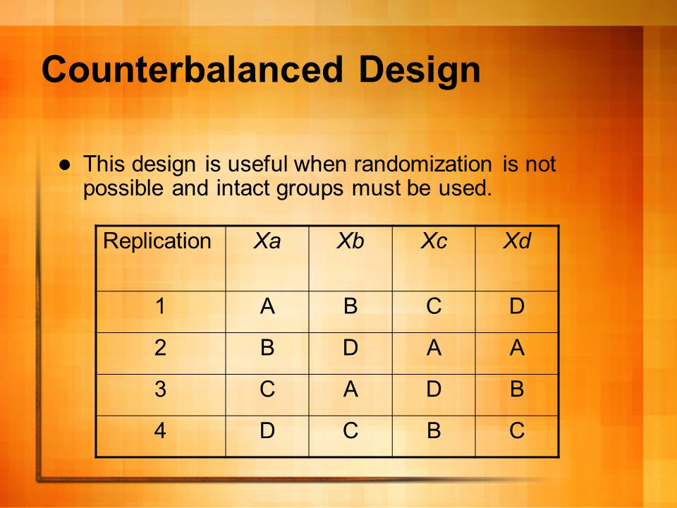 Counterbalanced design The counterbalanced design rotates out the participants' differences (e.g., one group has more aptitude or motivation than the other groups) by exposing each group to all variations of the treatment.