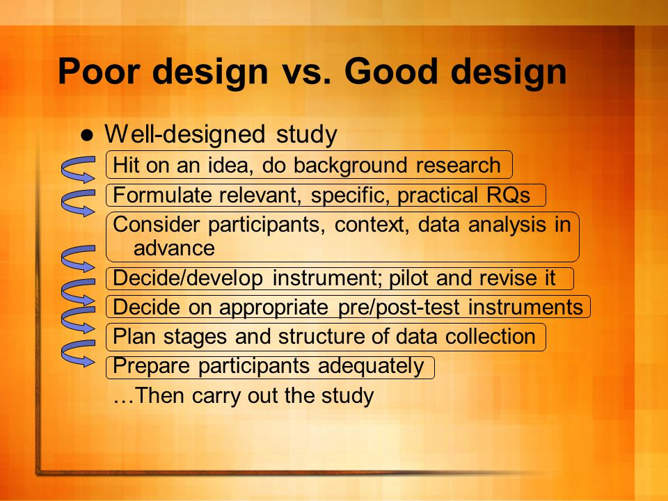 The importance of good design A well-designed study provides many benefits: – Demonstrates researcher knowledge – Ties the study to an underlying philosophy – Provides a clear path for the researcher(s) – Helps avoid mishaps of previous studies