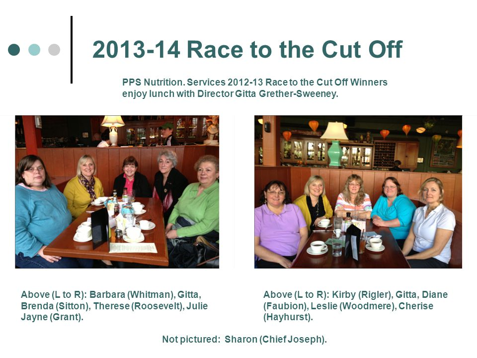 2013-14 Race to the Cut Off Above (L to R): Barbara (Whitman), Gitta, Brenda (Sitton), Therese (Roosevelt), Julie Jayne (Grant).