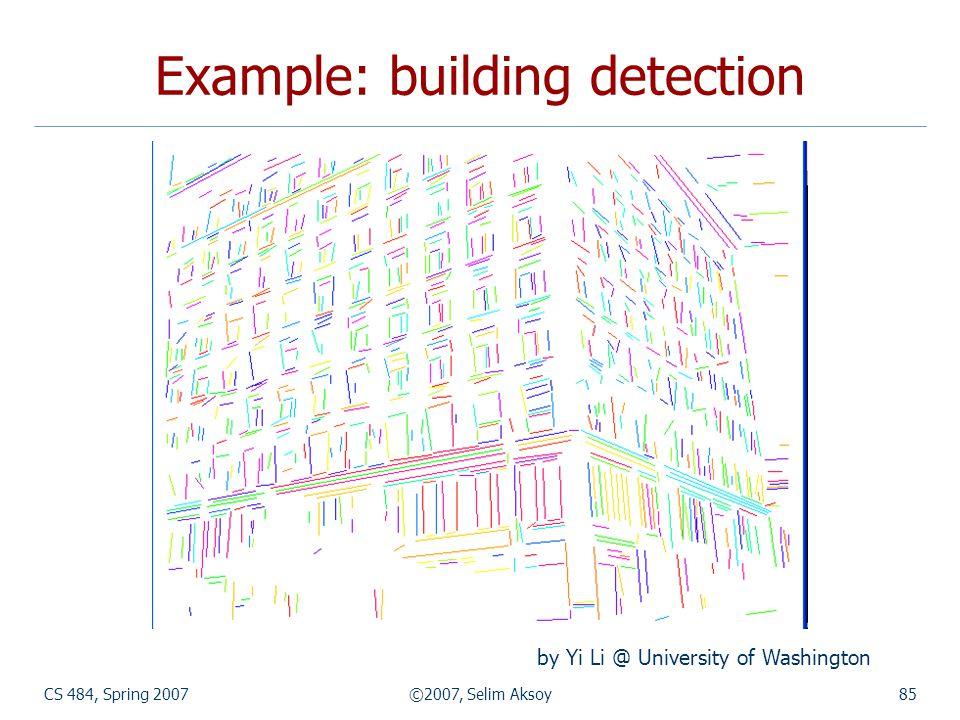 CS 484, Spring 2007©2007, Selim Aksoy85 Example: building detection by Yi Li @ University of Washington
