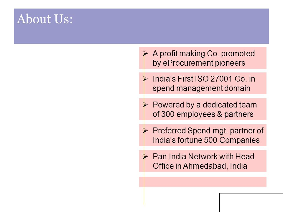 3 About Us:  A profit making Co. promoted by eProcurement pioneers  India's First ISO 27001 Co.
